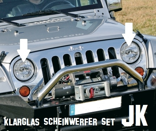 klarglas scheinwerfer set h4 jeep wrangler jk mit t v. Black Bedroom Furniture Sets. Home Design Ideas